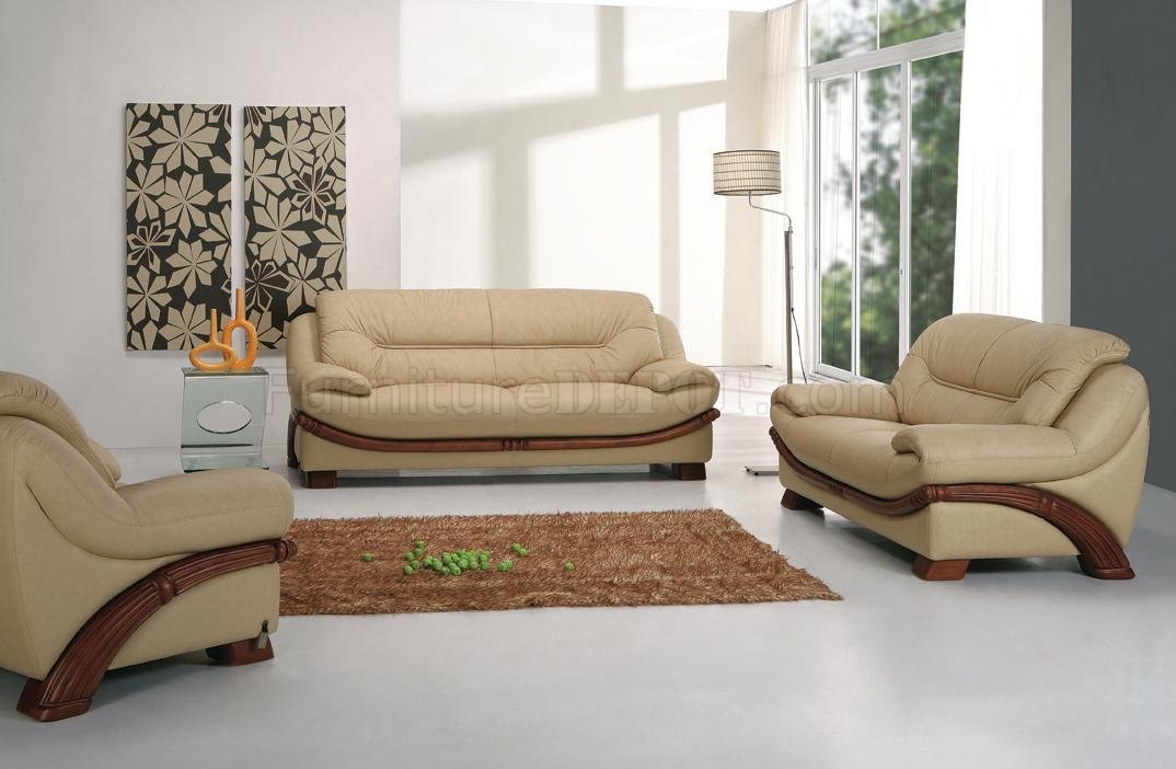 Beige Leather Modern 3Pc Sofa Set w/Wooden Legs & Accents
