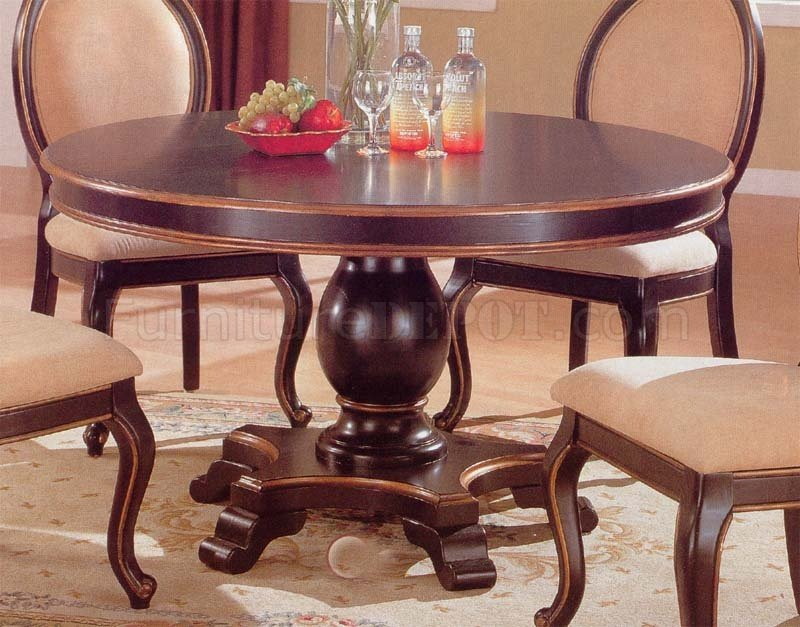 Two tone elegant dining room set with round table for 2 tone dining room sets