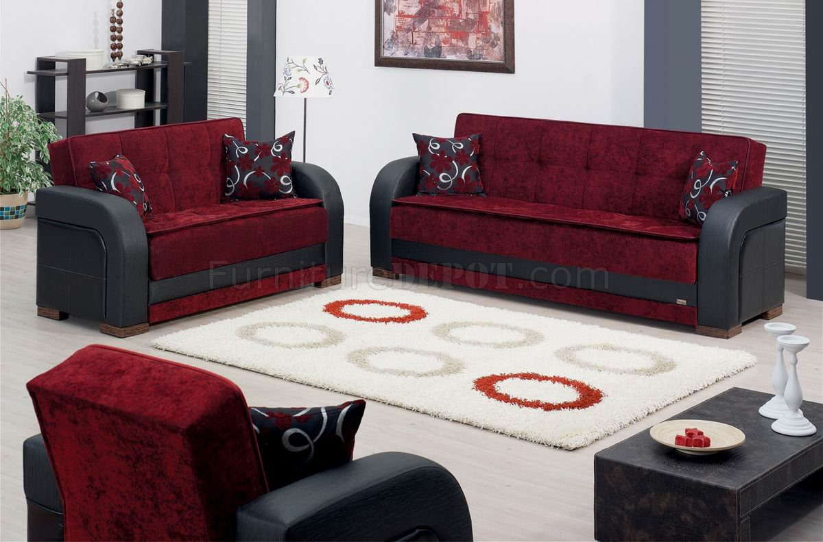 Burgundy fabric black vinyl two tone modern sofa bed woptions