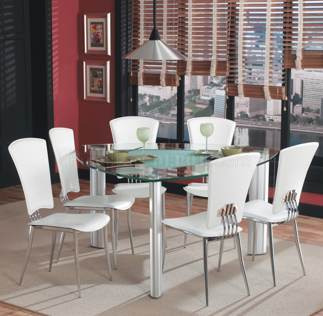 Triangle Glass Top Modern Dining Set 7Pc W/White Chairs
