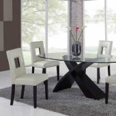 Clear Glass Top Modern Dining Table w/Optional Chairs & Buffet