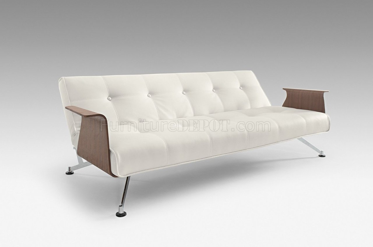 Full Leatherette Modern Convertible Sofa Bed w Walnut Arms