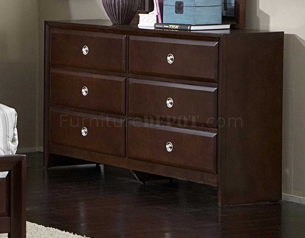 Dark Cherry Finish Contemporary Bedroom W Optional Items