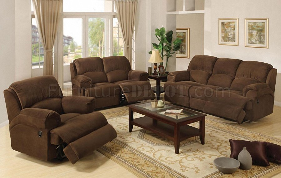 Coco brown microfiber plush contemporary motion recliner sofa Brown microfiber couch and loveseat