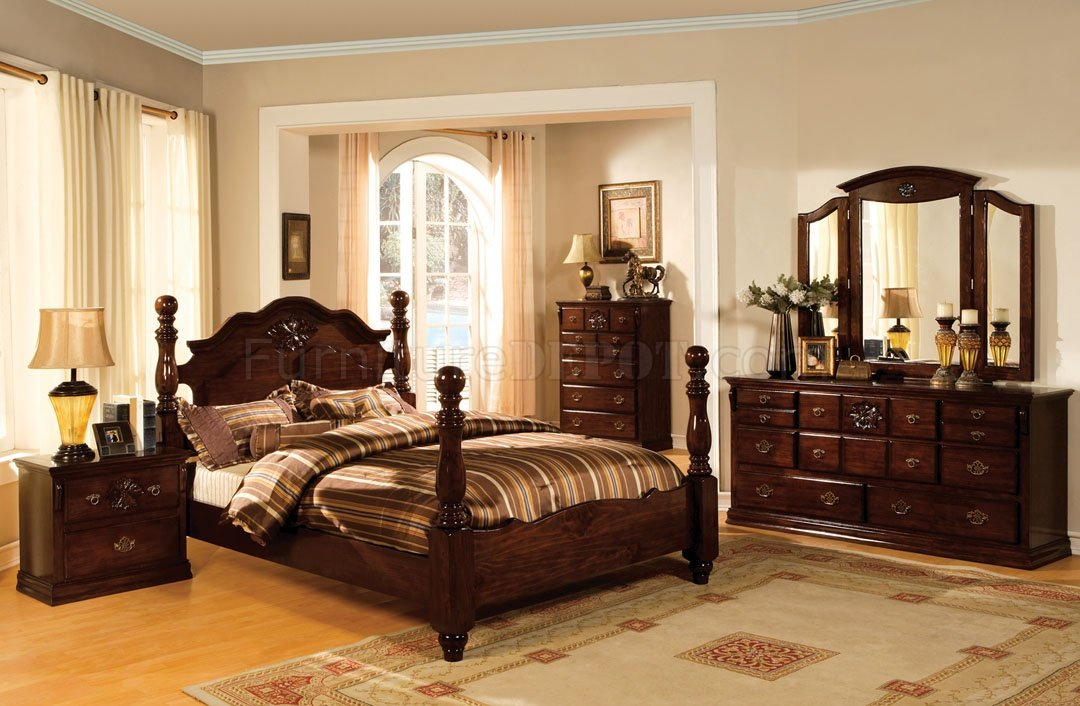 Cm7571 Tuscan Ii Bedroom In Glossy Dark Pine W Options