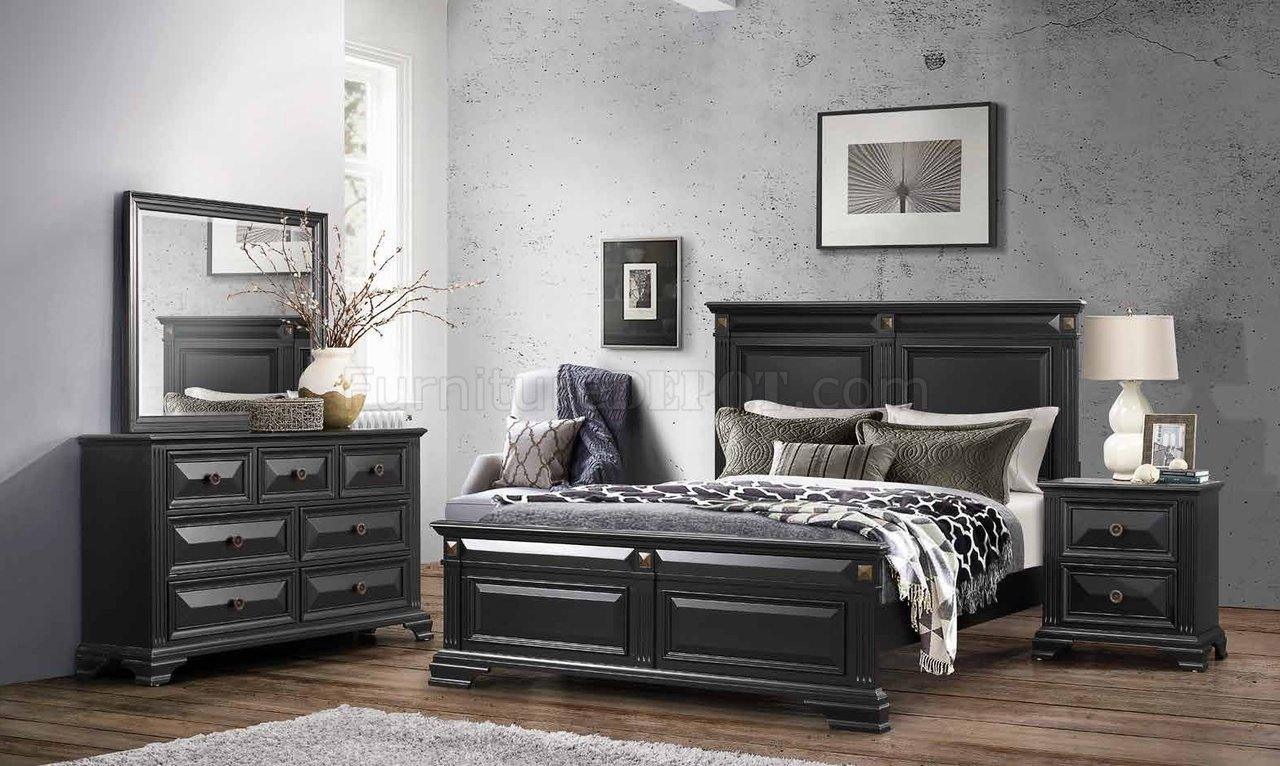 Carter Bedroom 5pc Set In Antique Black By Global