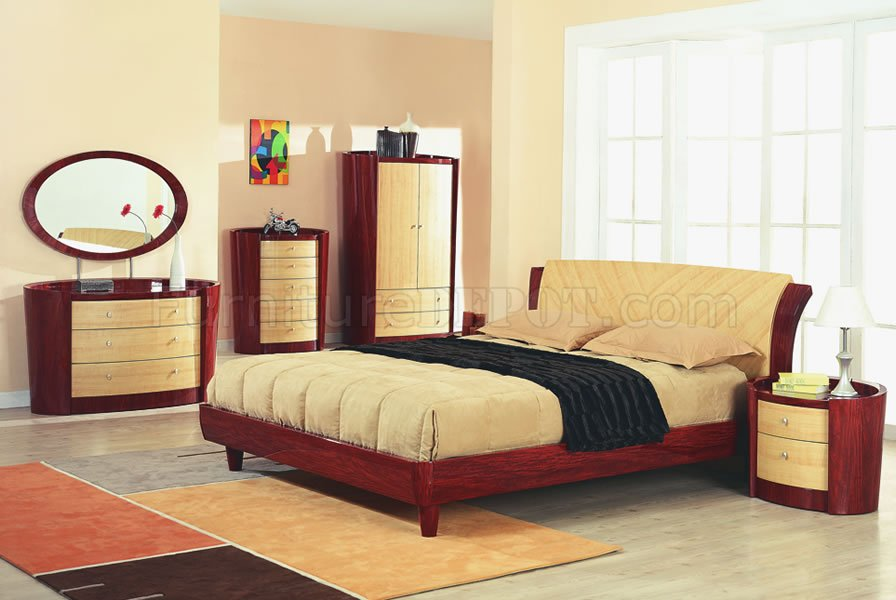 cherry maple high gloss finish contemporary bedroom set gfbs 76 gab