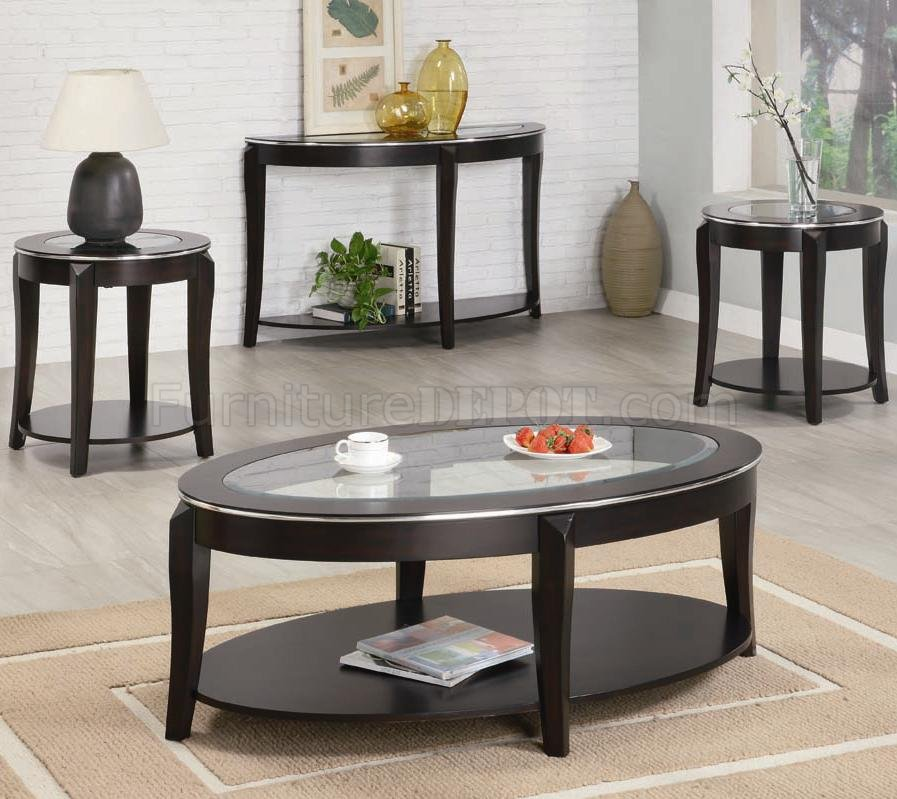 cappuccino finish modern 3pc coffee table set woptions p