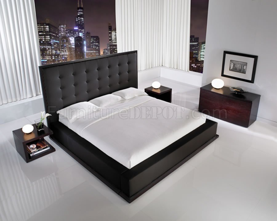 Black Full Leather Ludlow Bedroom Set W/Oversized Headboard Bed
