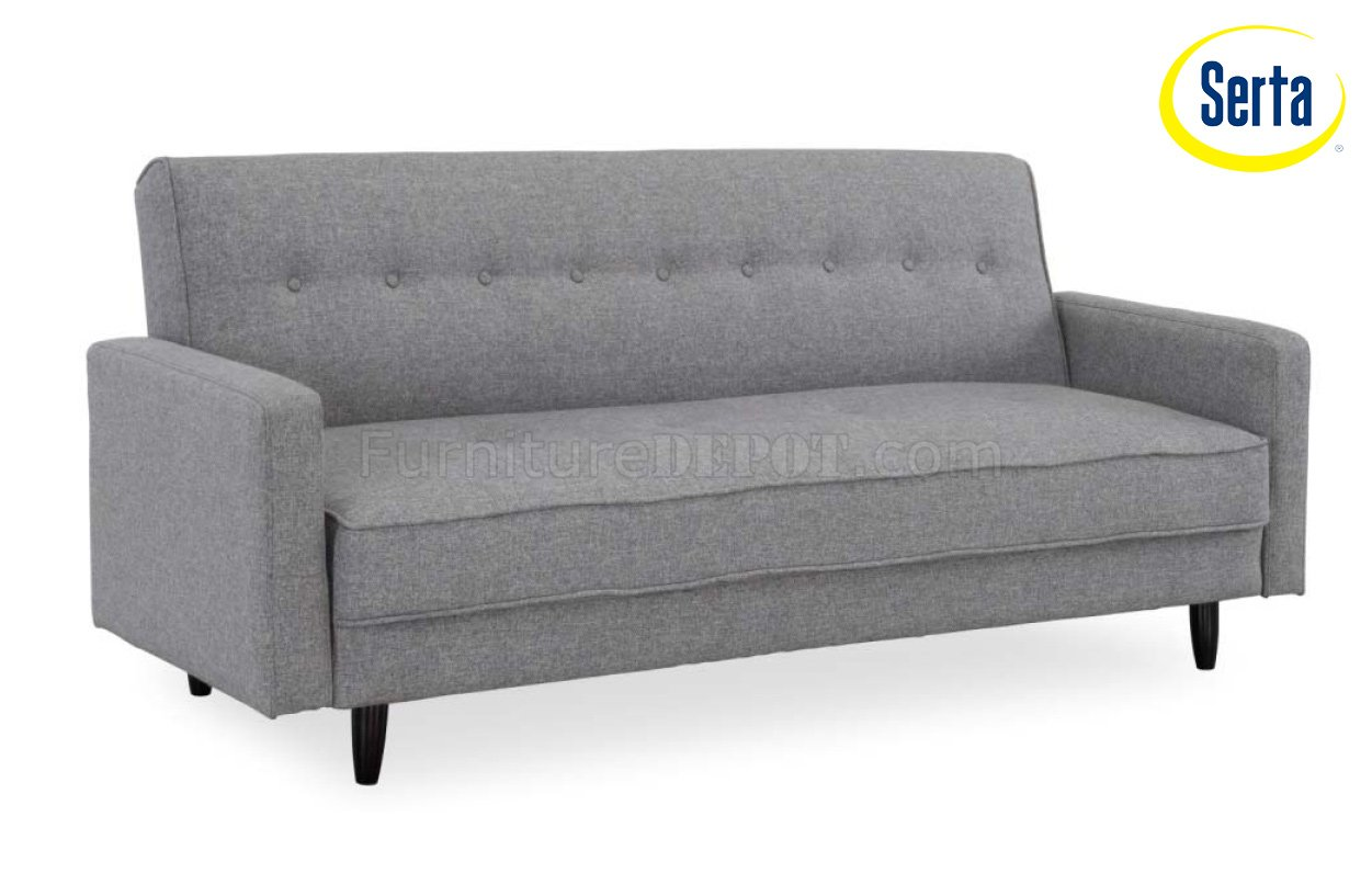 Ash Fabric Modern Convertible Sofa Bed w Wooden Legs