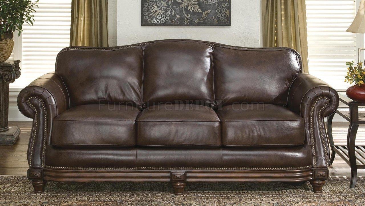 Traditional Leather Sofa With Nailhead Trim | Jonathan Steele