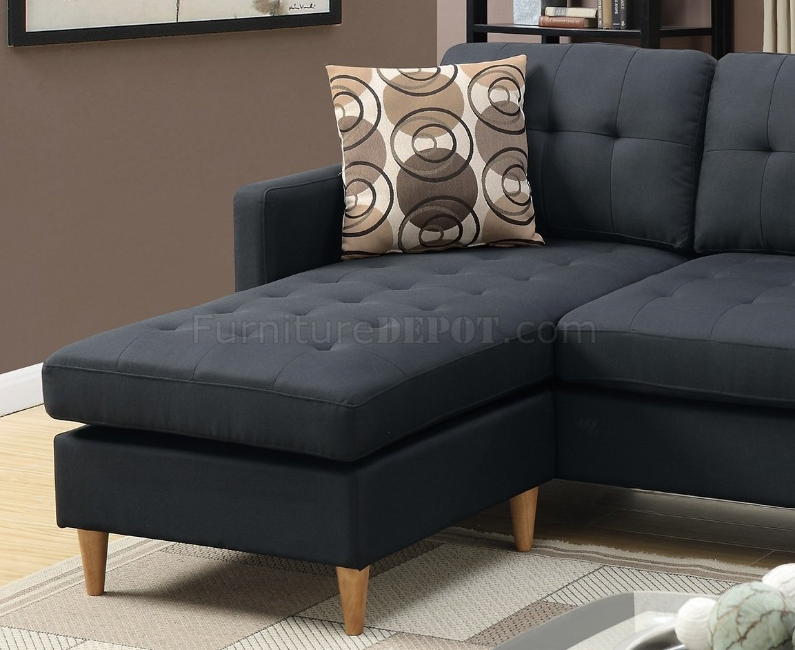F7084 reversible sectional sofa in black fabric by boss for Black fabric couches