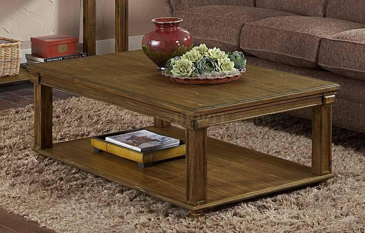 Weathered Acacia Wood Traditional Coffee Table W Shelf