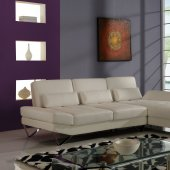 U1350 Sectional Sofa in White Bonded Leather by Global
