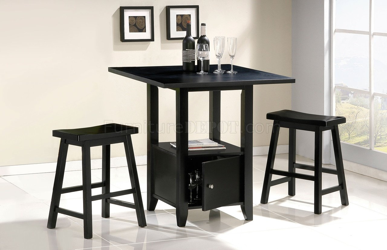 Black Finish Contemporary Counter Height Dinette W Storage