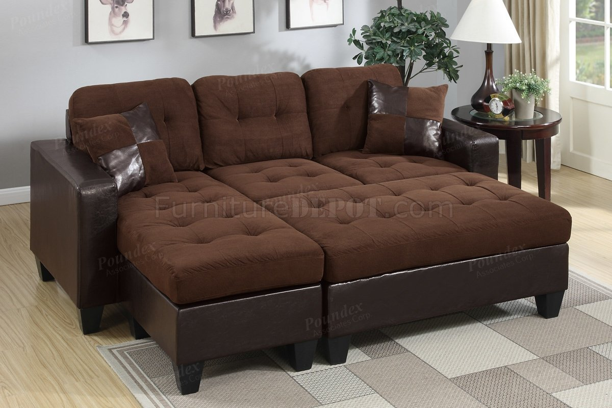 F6928 sectional sofa in chocolate microfiber fabric by boss for Microfiber sectional sofa