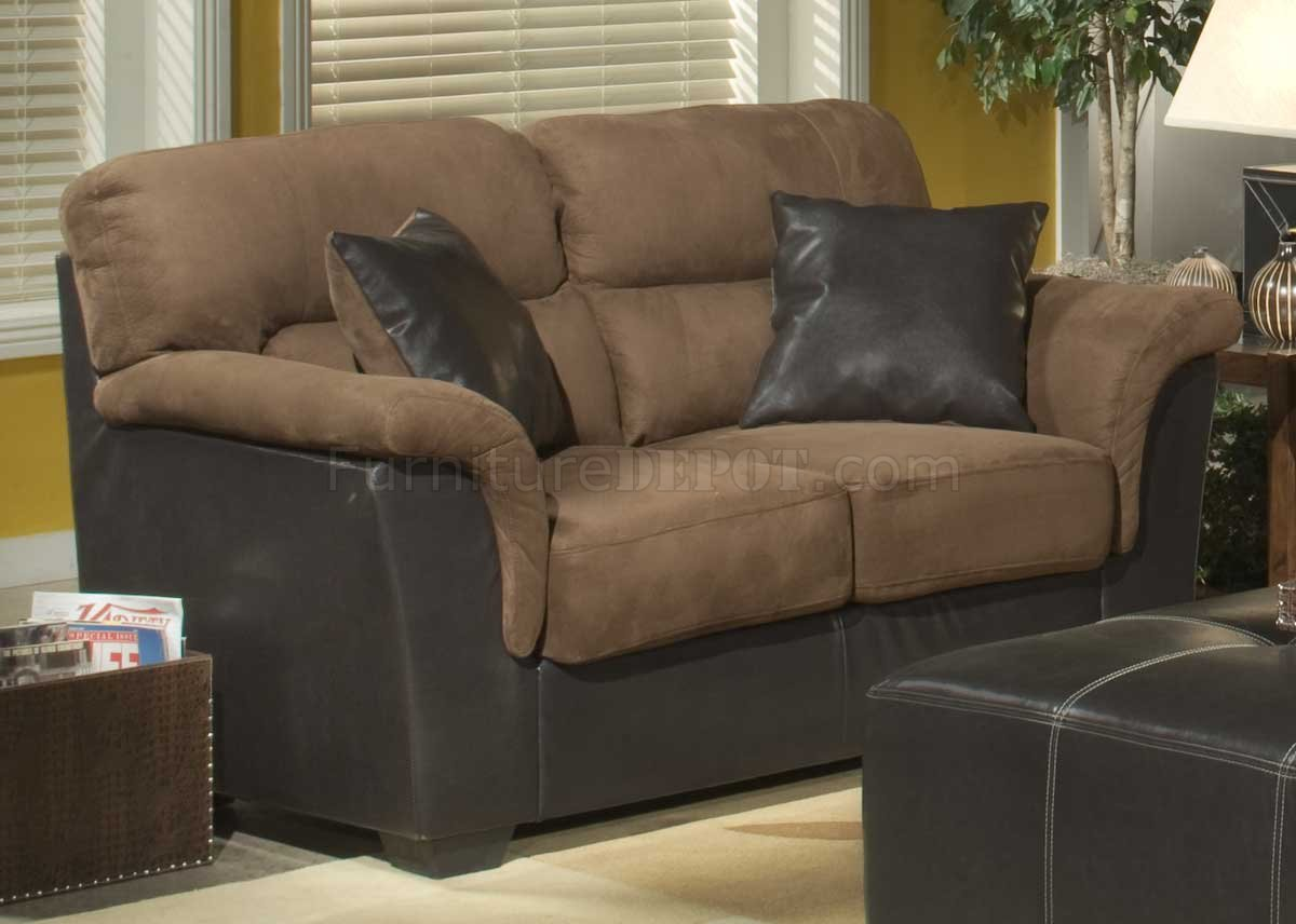 Brown microfiber stylish sofa loveseat set w dark bycast base Brown microfiber couch and loveseat