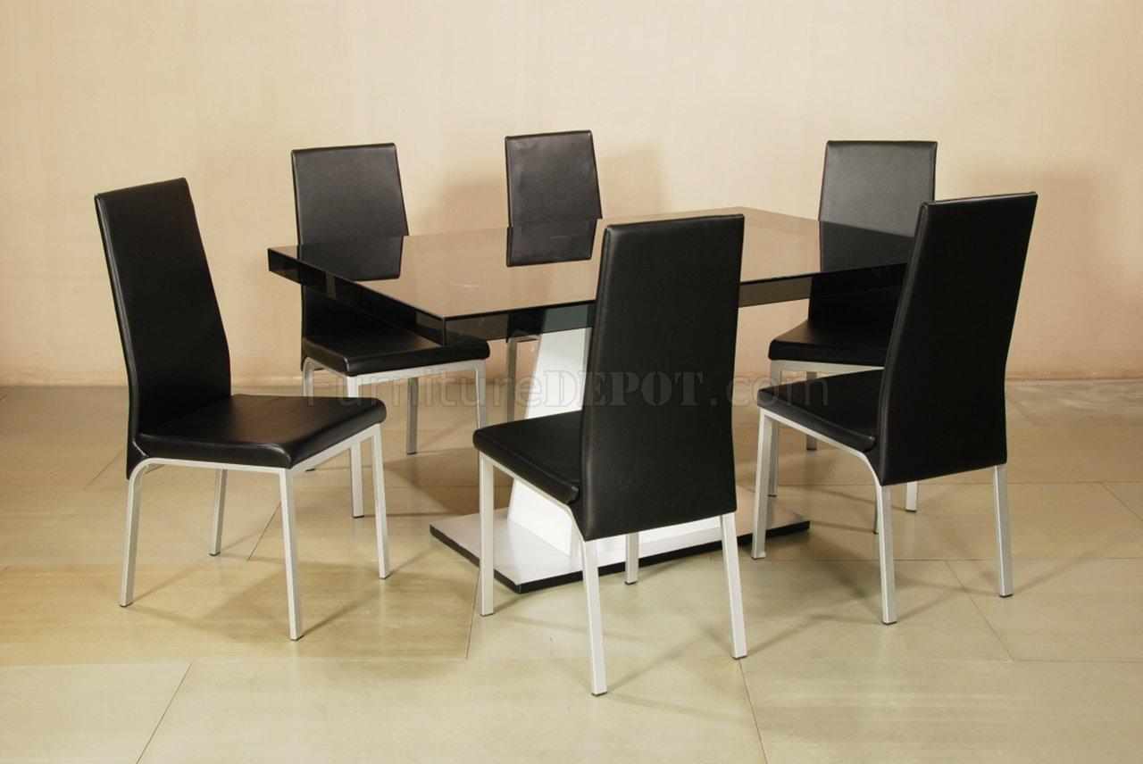 Rectangular Glass Top W/Glass Apron Modern 7Pc Dining Set