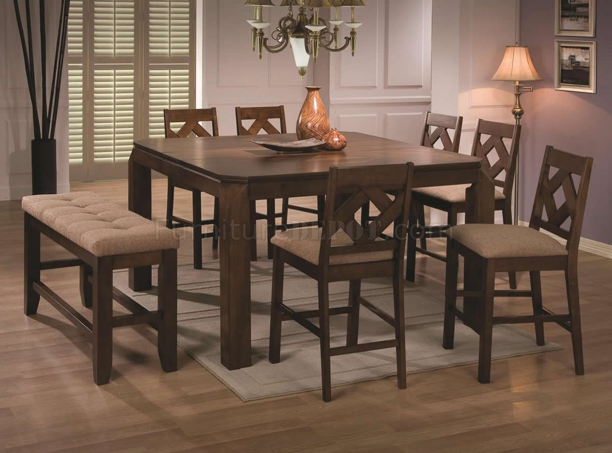 Walnut Finish Modern Counter Height Dining Table W Options