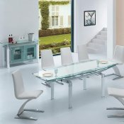 White Contemporary Glass Top Dinning Table with Extension Leaf