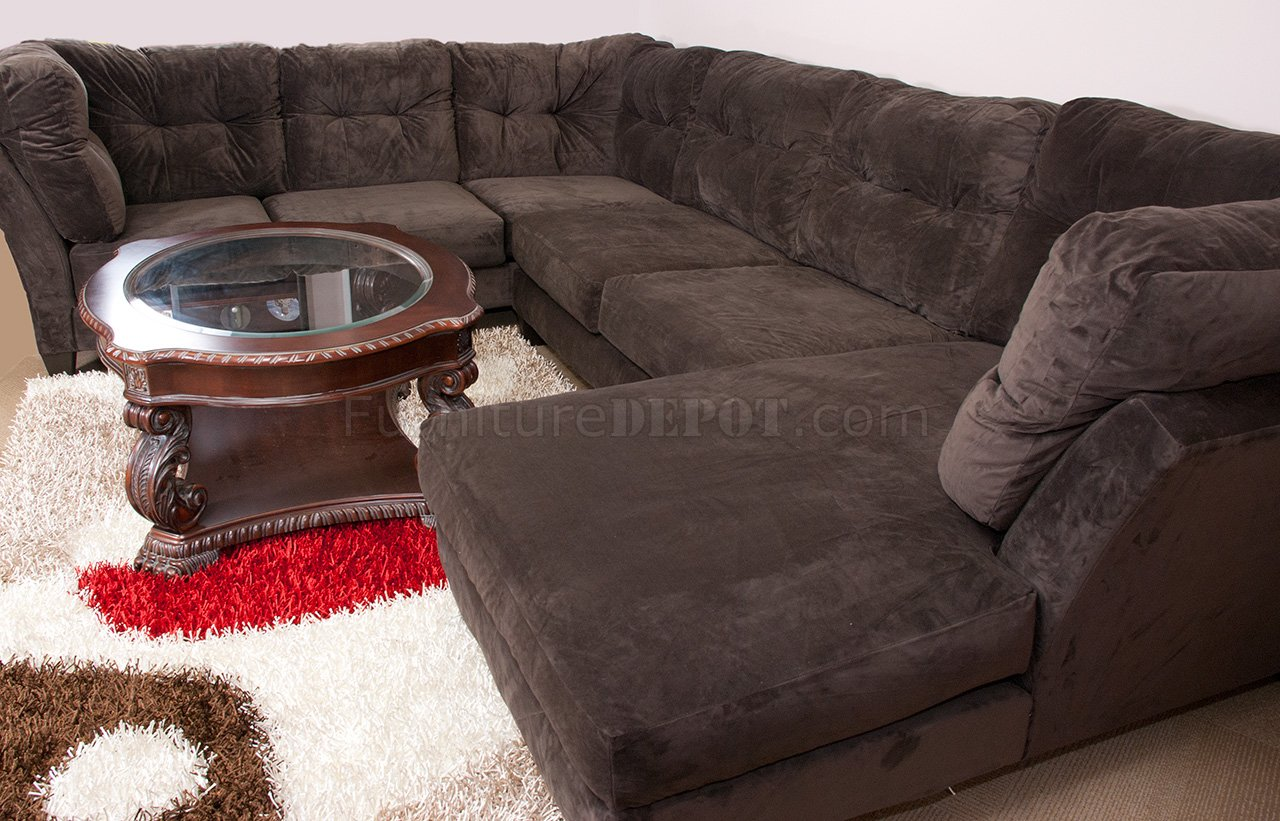 Mocha Brown Suede Fabric Modern 3PC Sectional Sofa