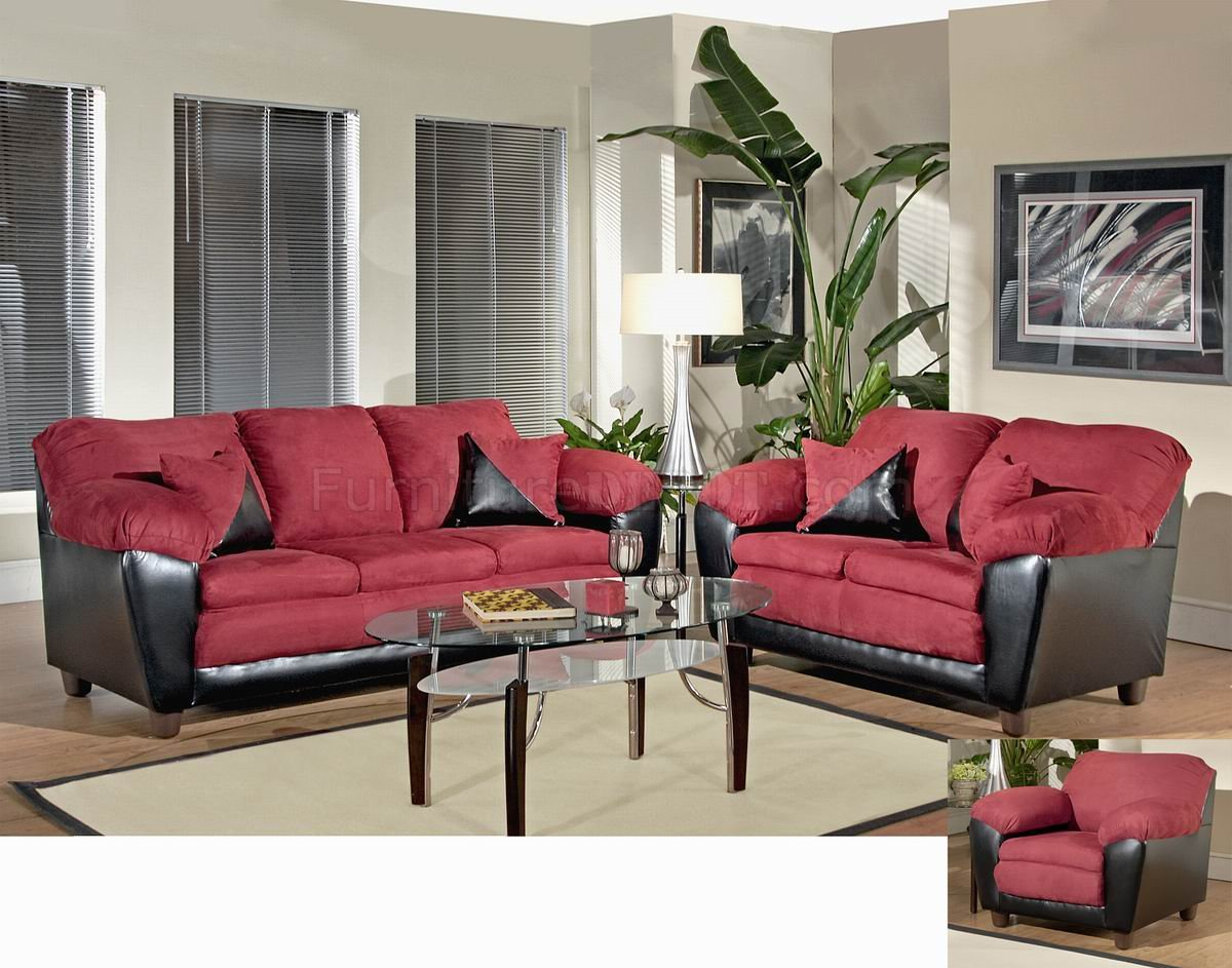 Burgundy Fabric and Bicast Modern Sofa & Loveseat Set w/Options