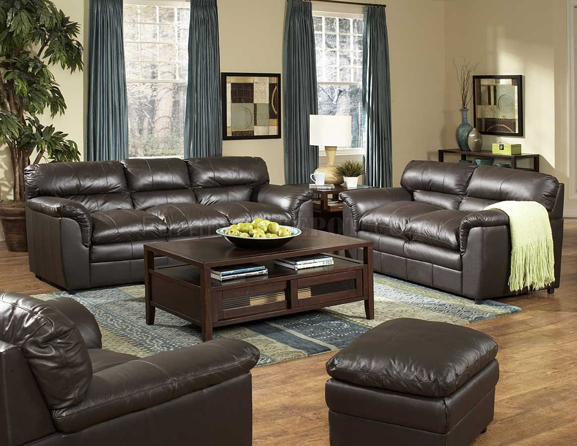 Dark Brown Full Leather Transitional Style Sofa Amp Loveseat Set