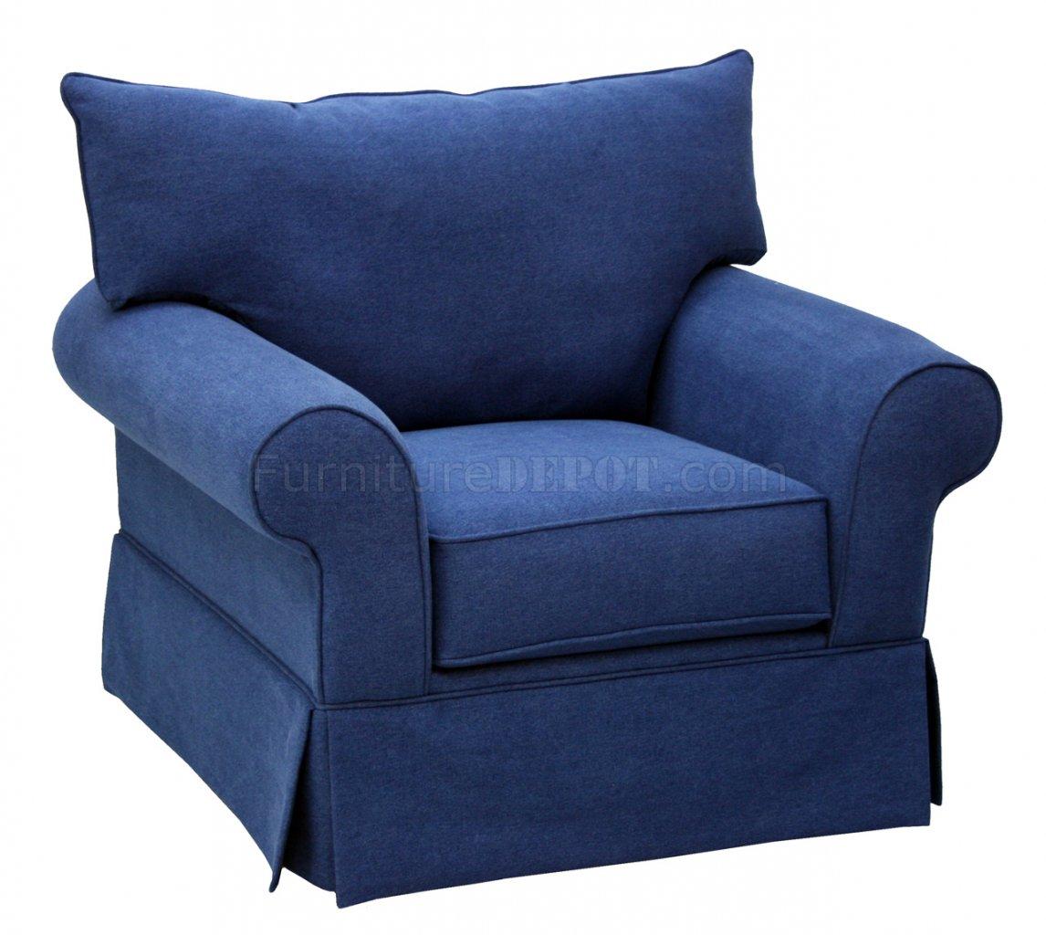 Blue Denim Fabric Modern Sofa Loveseat Set W Options