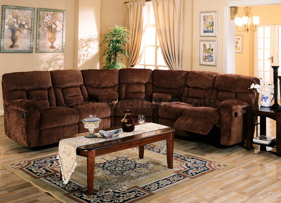 Brown chennile fabric sectional sofa w recliner seat for Decoration canape