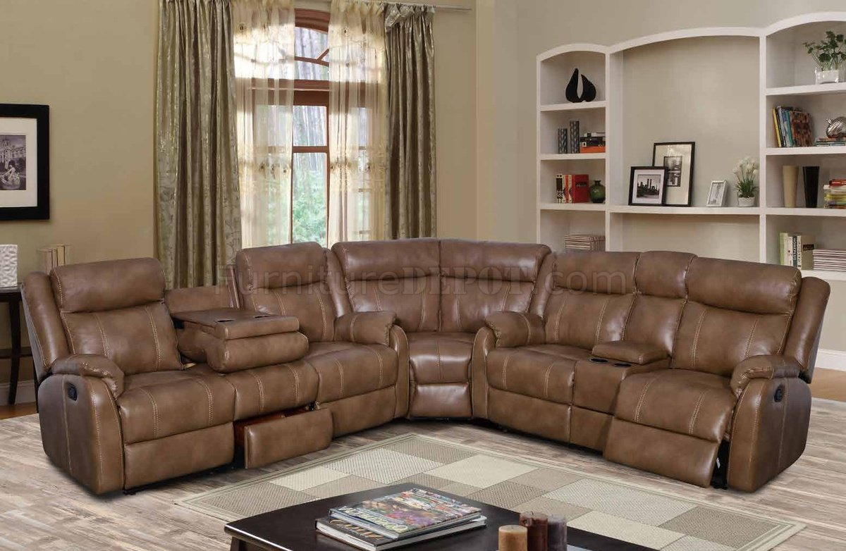 U7303C Motion Sectional Sofa in Walnut Leather Gel by Global