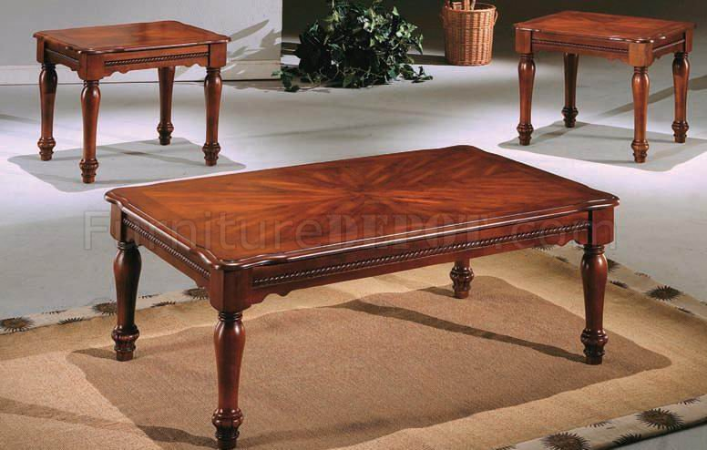 Cherry Finish Classic Elegant 3pc Coffee Table Set