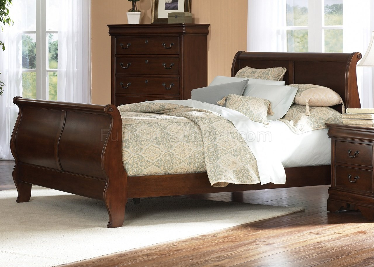 Brown Cherry Finish Traditional Sleigh Bed W Optional Case