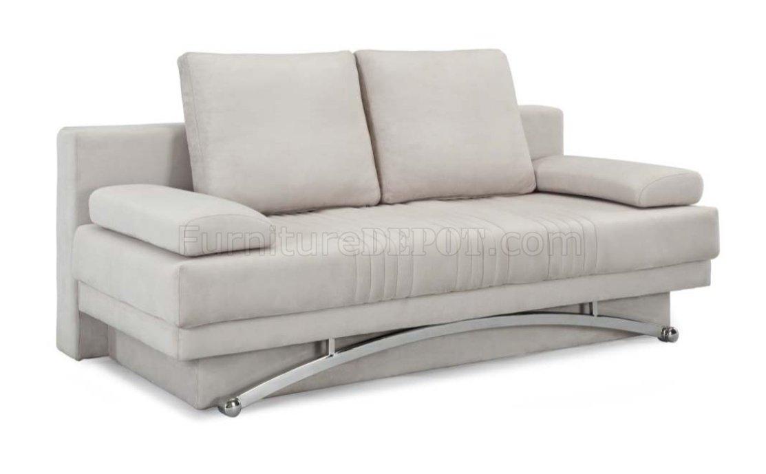 Ivory microfiber modern sofa bed w wood base metal legs for Sofa bed base
