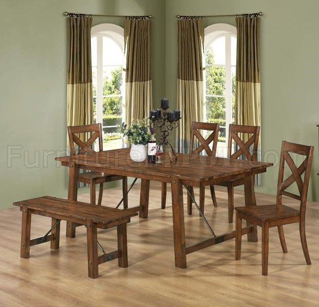 103991 Lawson Dining Table In Rustic Oak Finish By Coaster