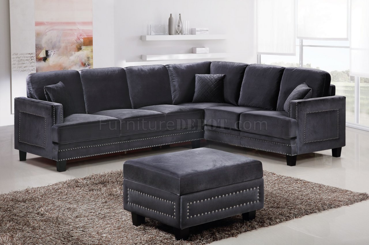 Ferrara Sectional Sofa 655 In Grey Velvet Fabric W Options