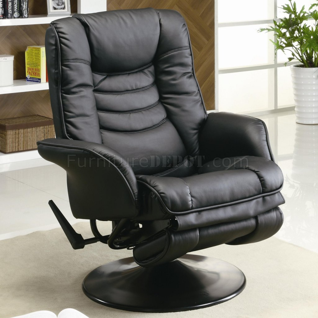 black leatherette modern swivel recliner chair w round base crrc