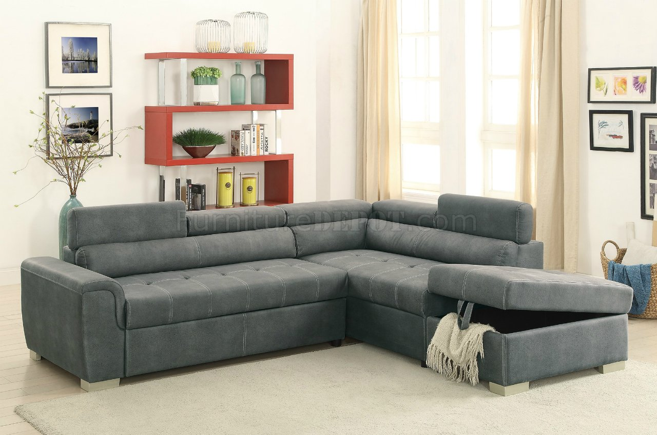 F6550 Convertible Sectional Sofa Bed Grey Leatherette By Boss