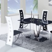 D551DT Dining Set 5Pc w/803DC Black & White Chairs by Global