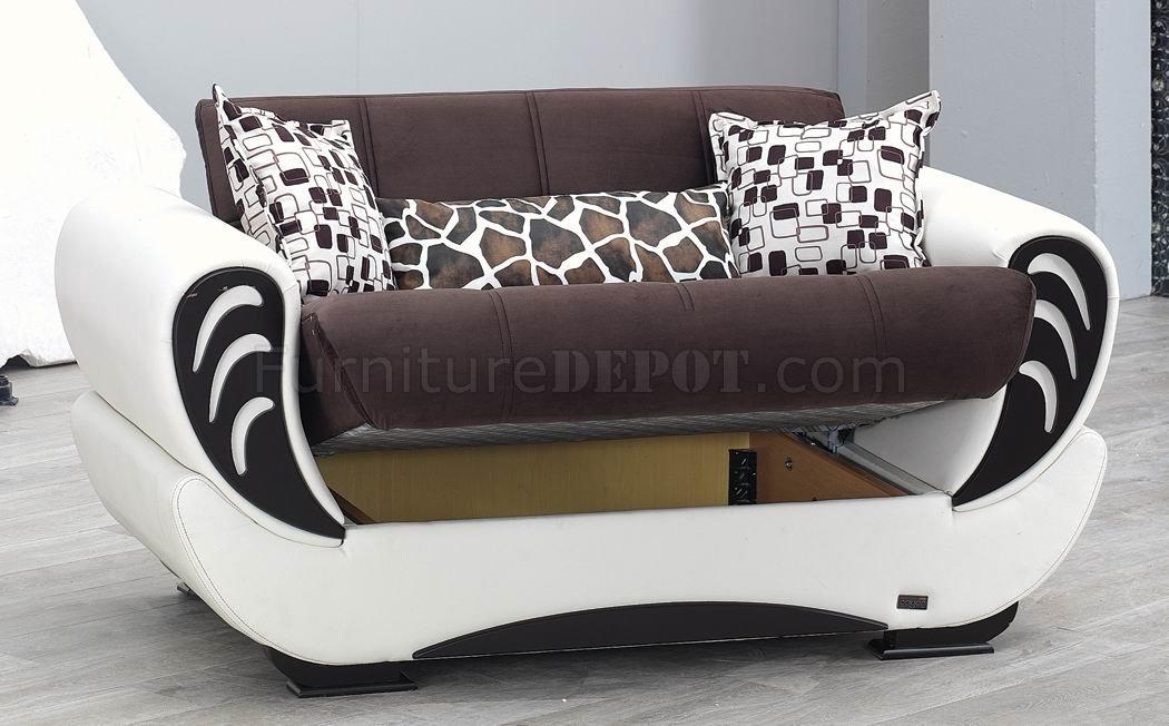 Wondrous Brown Fabric White Vinyl Modern Convertible Sofa Bed W Options Spiritservingveterans Wood Chair Design Ideas Spiritservingveteransorg