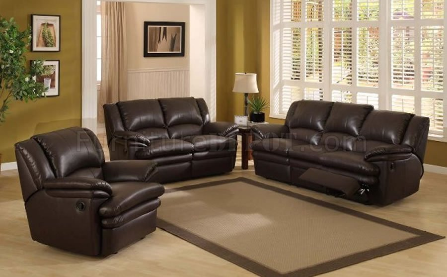 Dark Chocolate Color Modern Recliner Living Room Set