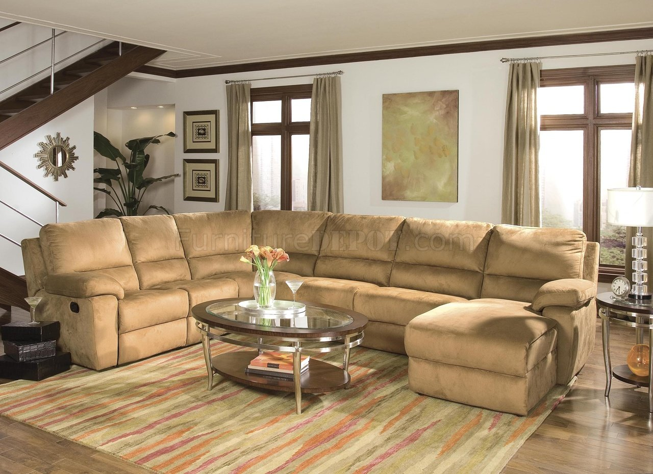 Butternut Micro Suede Contemporary Reclining Sectional Sofa