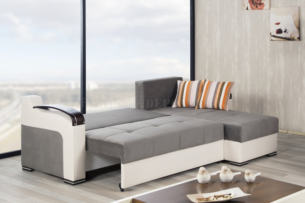 Divan deluxe sectional sofa in gray fabric by casamode for Vintage divan sofa