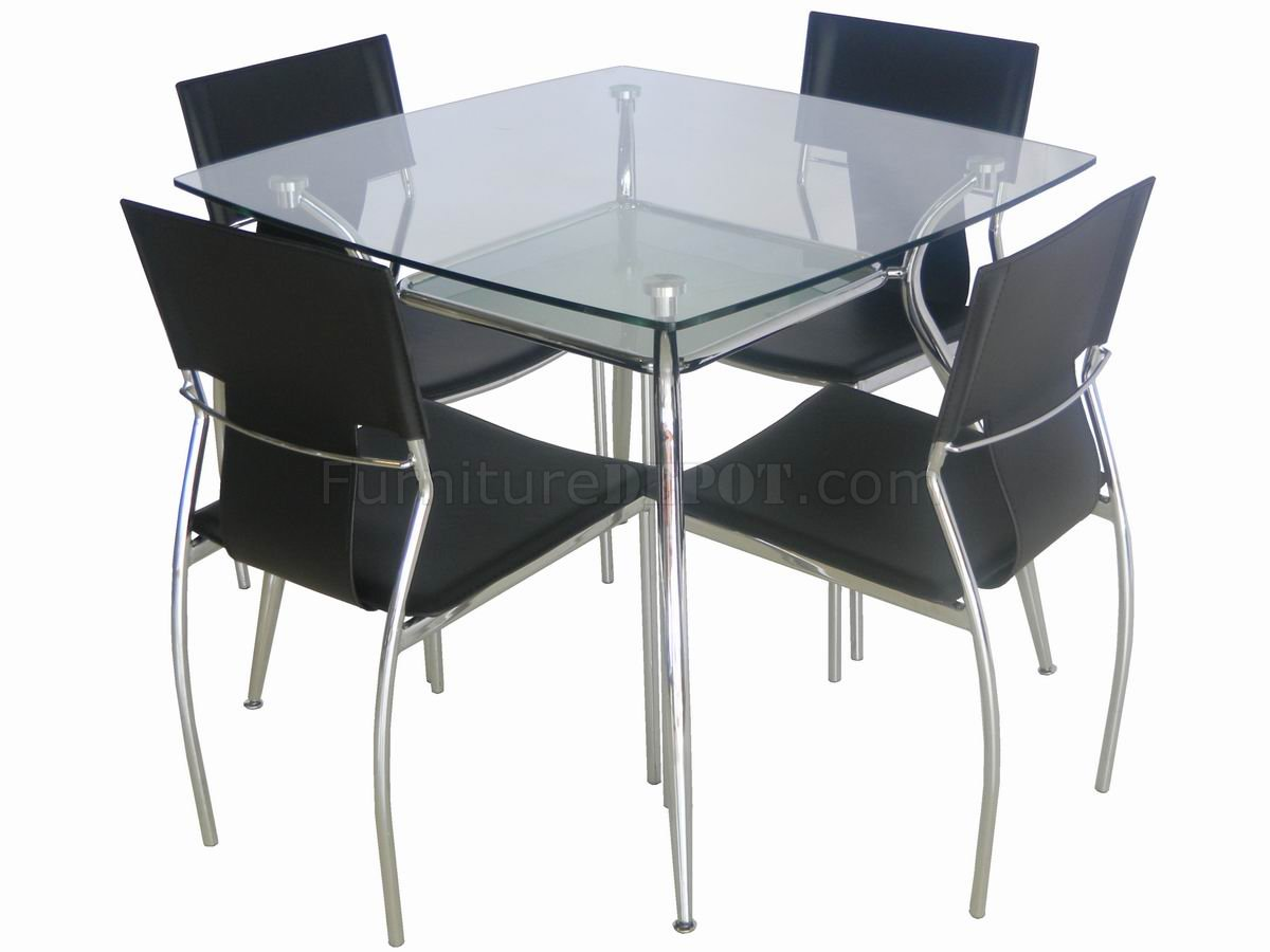 Glass Top Metal Legs Modern Square Dining Table W Shelf GRDS B 003