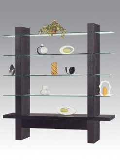 & Contemporary Wenge Finish Display Cabinet with 4 Glass Shelves