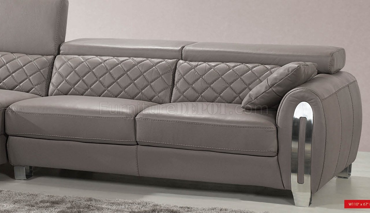 Light grey full italian leather modern sectional sofa for Leather sectional sofa