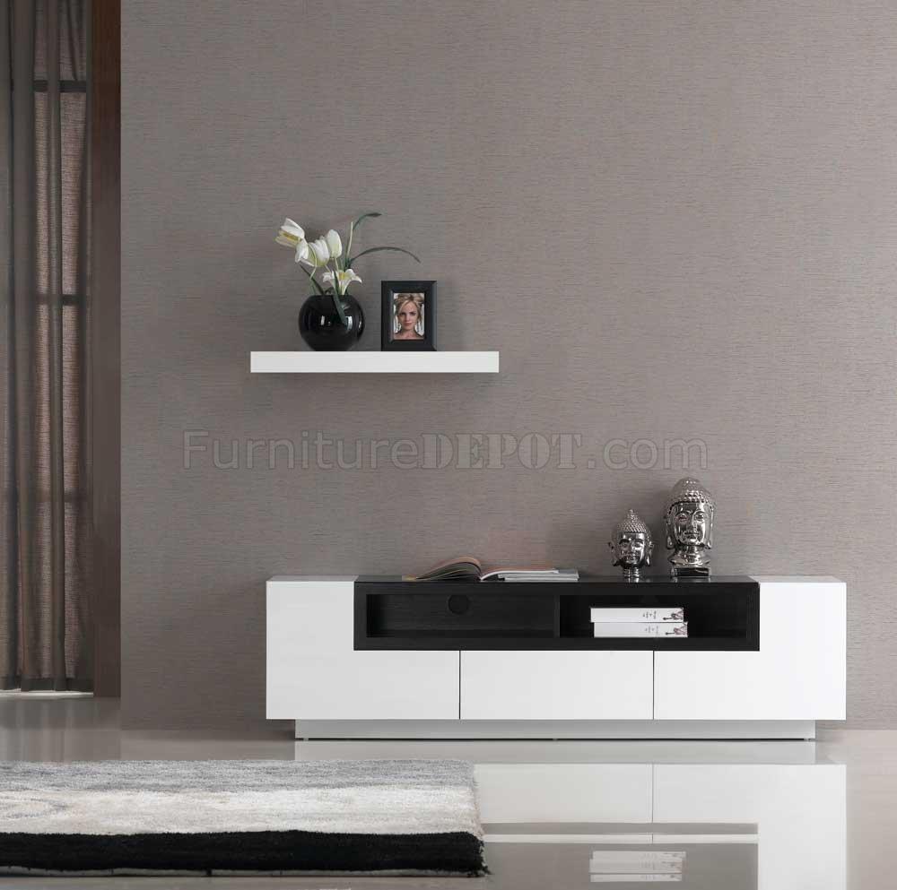 White Gloss W Dark Oak Elegant Modern TV Stand