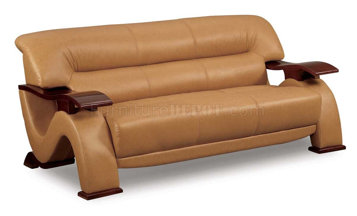 Brown leather modern sofa loveseat set with mahogany arms for Modern loveseat