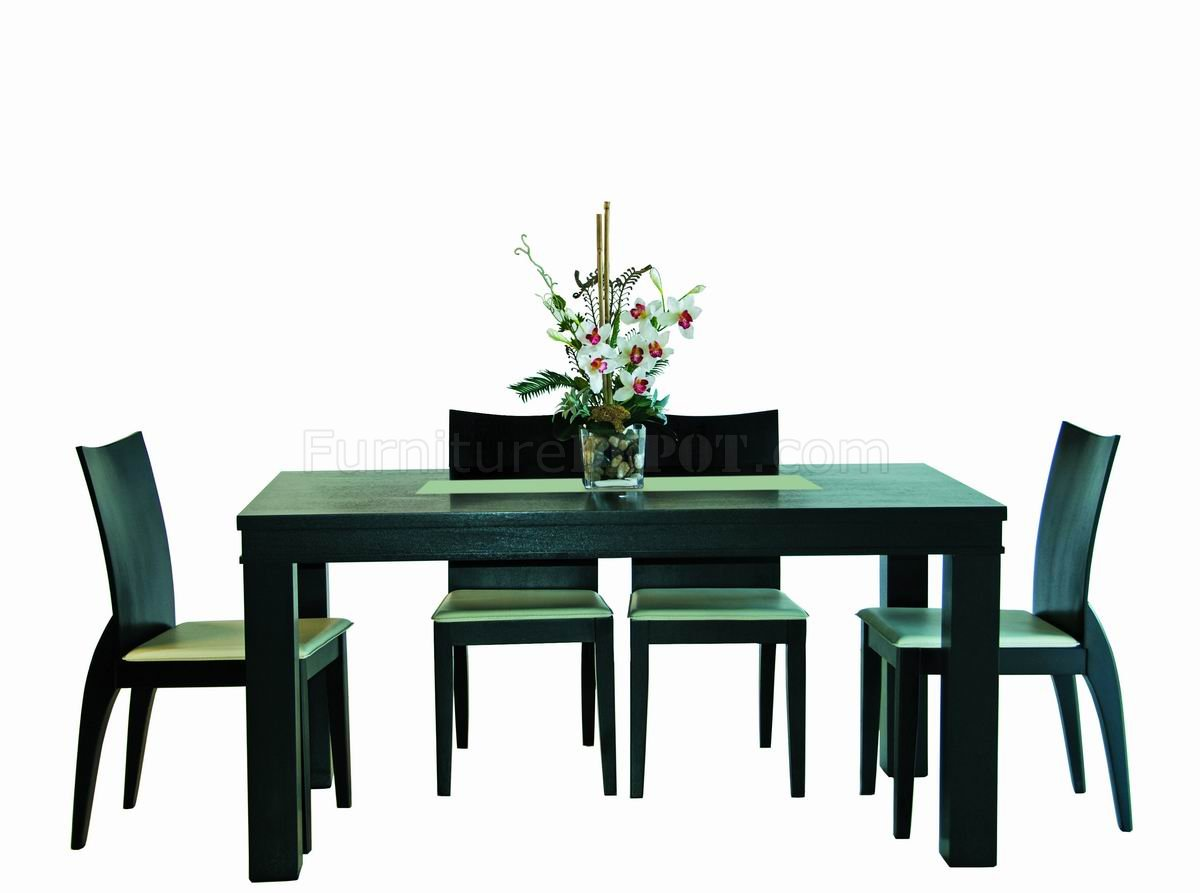 Wenge Finish Modern Rectangular Dining Table W Glass Center GRDS A 5