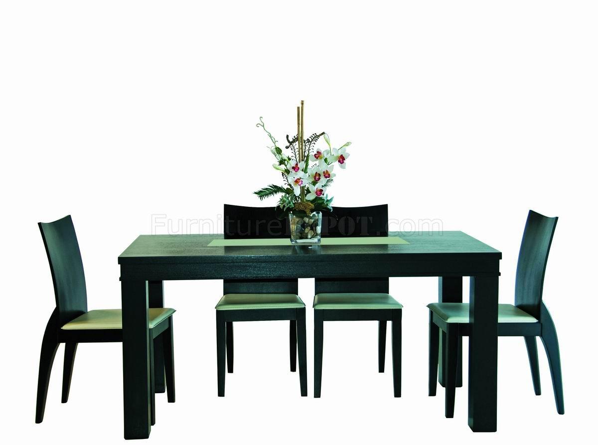 Wenge Finish Modern Rectangular Dining Table W Gl Center