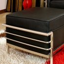 Le Corbusier Style Ottoman in Black Leather